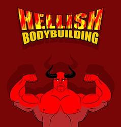 Hellish bodybuilding Satan with big muscles vector image vector image