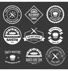 Set of bakery and bread logos labels badges or vector image