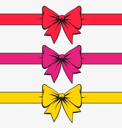Set of bows with ribbons vector image