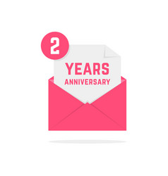 2 years anniversary icon in pink letter vector image