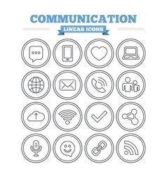 Communication linear icons set Thin outline signs vector image vector image