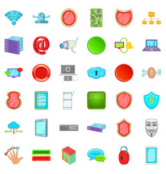 cyber protection icons set cartoon style vector image vector image