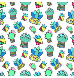 doodle cactus and succulent raster seamless vector image