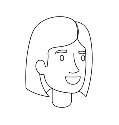 monochrome silhouette of woman face with mushroom vector image vector image