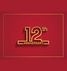 12 anniversary design with simple line style vector