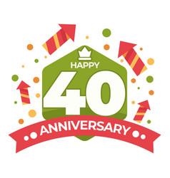 40 anniversary isolated icon birthday celebration vector image