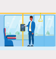 A man paying for public transport vector