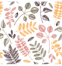 Autumn leaves seamless pattern with hand sketched vector