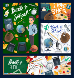 back to school student and education items vector image