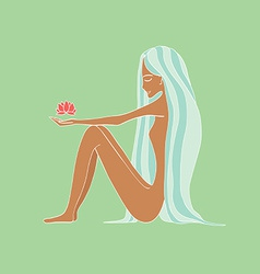beautiful young woman holding a Lotus flower vector image