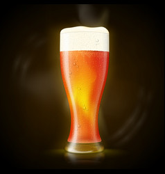 Beer tall wet glass with bubbles and froth vector