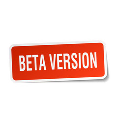 Beta version square sticker on white vector