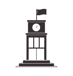 black silhouette structure with flag and clock vector image