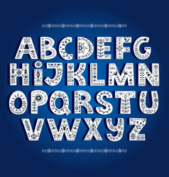 Bold alphabet decorated with nordic folk ornaments vector