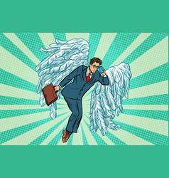 Business angel businessman vector