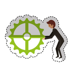 Businessman with gear avatar character icon vector
