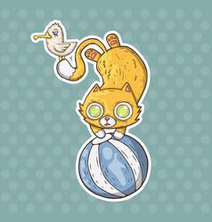 cartoon circus cat and seagull vector image