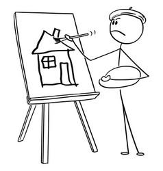 Cartoon man artist painting amateurish house vector