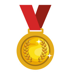 Championship medal with wreath isolated icon vector