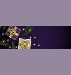 Christmas purple banner background of gold gifts vector