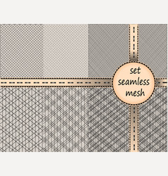 Collection lace woven patterns mesh seamless set vector