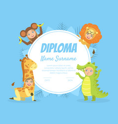 Colorful diploma template for kids with place vector