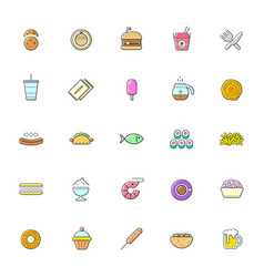 colorful set fast food street food related vector image