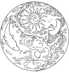 Coloring Tao Mandala Diksha vector