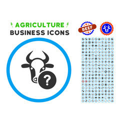 Cow unknown status rounded icon with set vector
