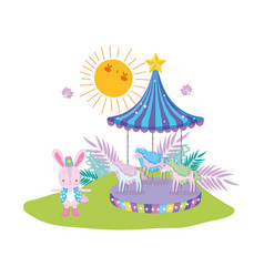 Cute circus rabbit with layer and carousel vector