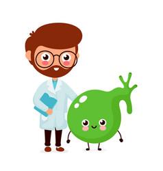Cute funny doctor and healthy happy gallbladder vector