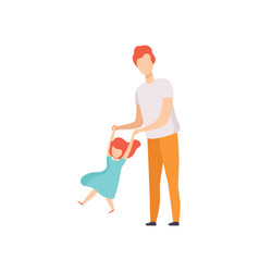 dad swinging daughter holding her hands dad and vector image