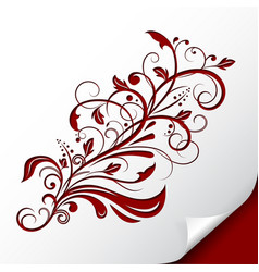 Decorative floral branch embossed red ornamental vector