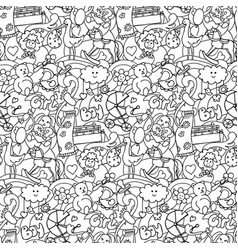 Doodle bashower seamless pattern vector
