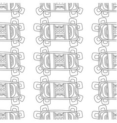 doodle seamless pattern for coloring book black vector image