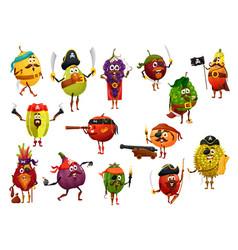 Exotic fruit pirate characters captain corsairs vector