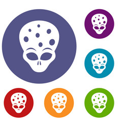 extraterrestrial alien head icons set vector image vector image