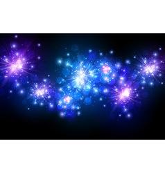 Festive blue firework background vector