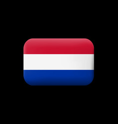 Flag of netherlands matted icon and button vector