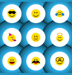Flat icon emoji set of joy laugh angel and other vector