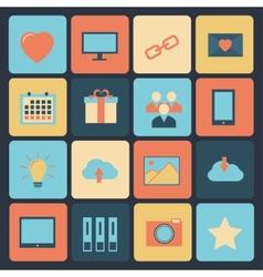 flat set modern icons vector image