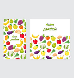 flyers with fruits and vegetables vector image