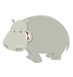 Funny cartoon hippopotamus animal character vector