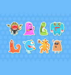 funny monsters stickers collection cheerful comic vector image