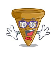 Geek cartoon ice cream wafer cone vector