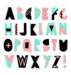 Geometric Style Font vector image