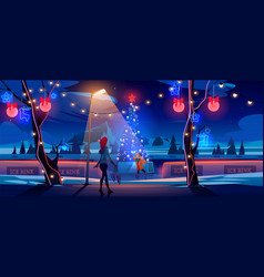 girl mother night christmas ice rink with fir tree vector image