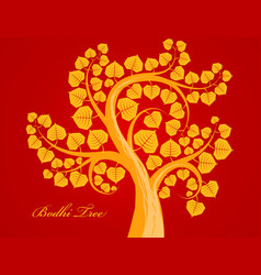 Gold bodhi tree scene vector
