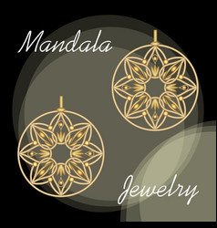 golden earrings in mandala style luxurious vector image