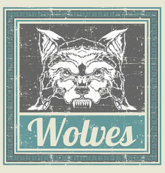 Grunge style wolf hand drawing vector
